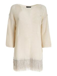 Clips - Drilled beige lamé sweater with fringes