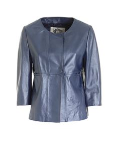Diego M - Pearl leather jacket in blue