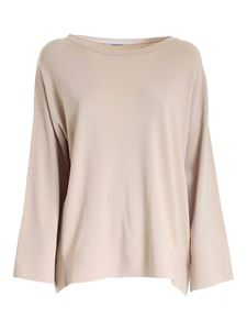 Kangra Cashmere - Contrasting details oversize sweater in beige