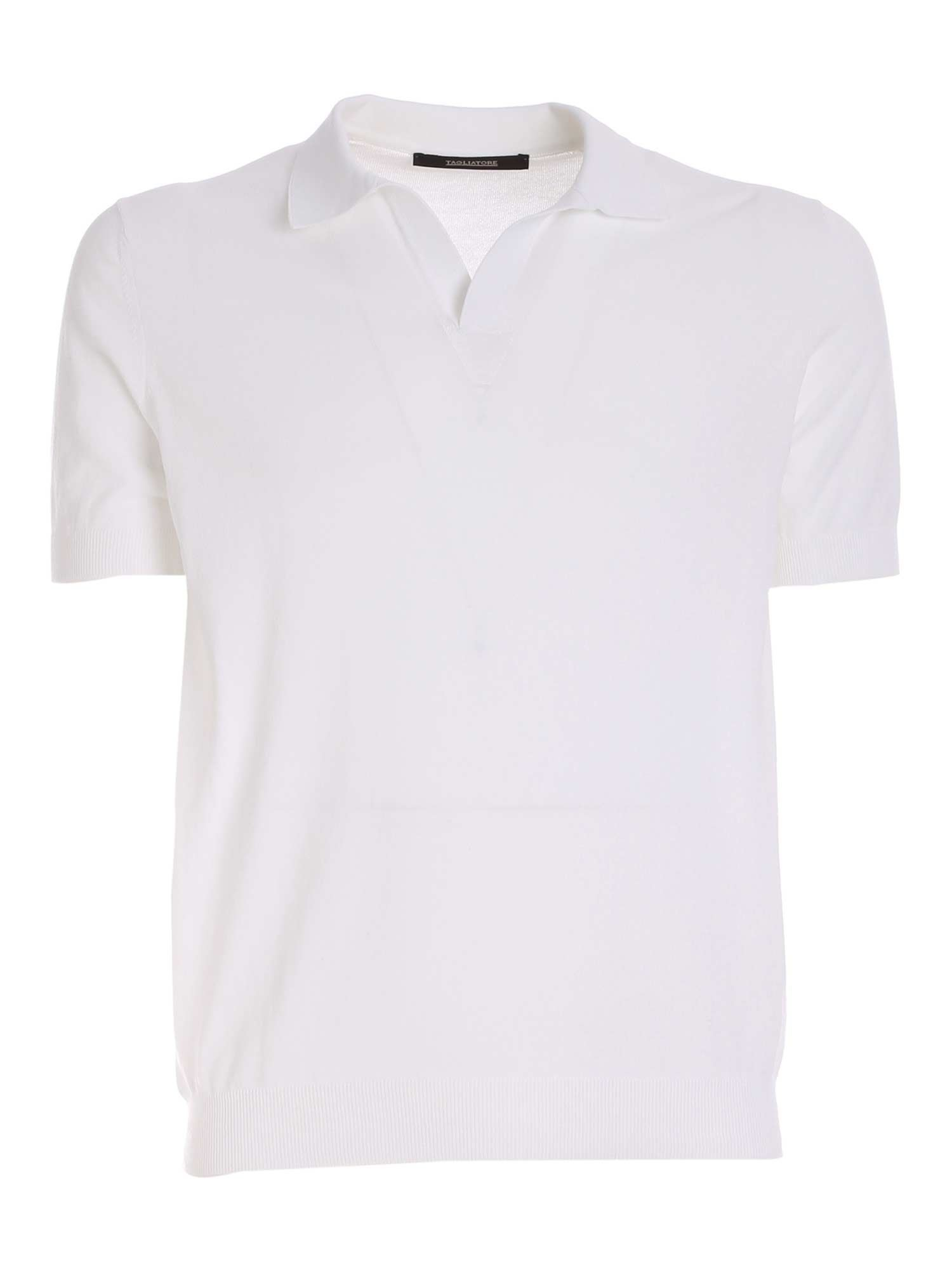 Tagliatore RIBBED HEM POLO SHIRT IN WHITE