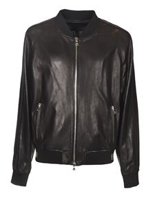 Balmain - Perforated leather jacket in black