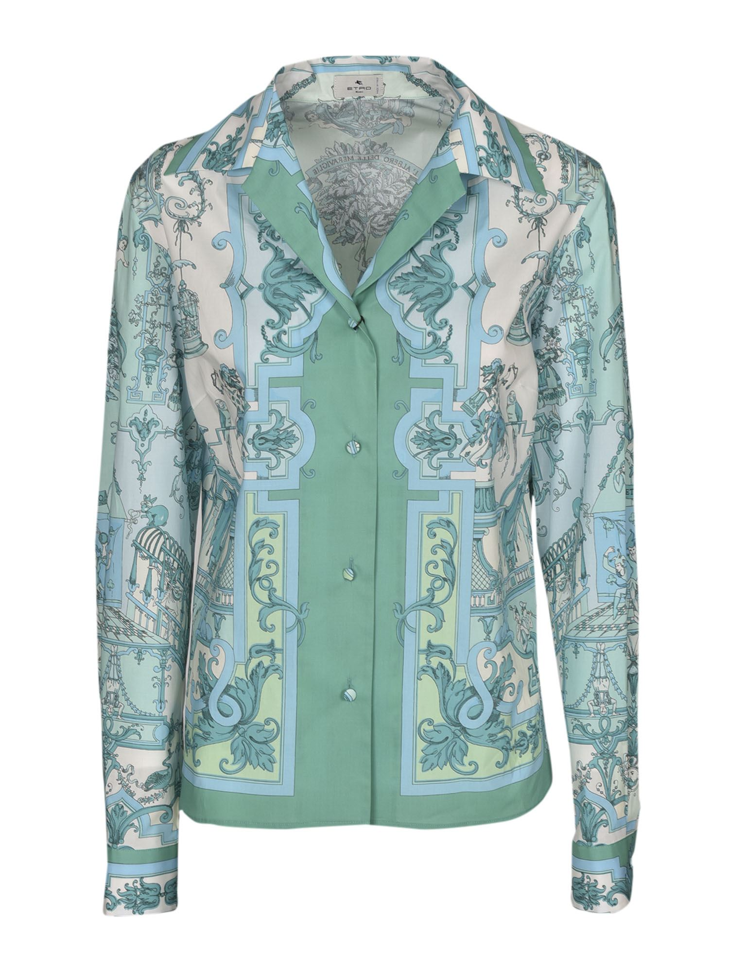 Etro Cottons SCARF PRINTED SHIRT IN SHADES OF LIGHT BLUE