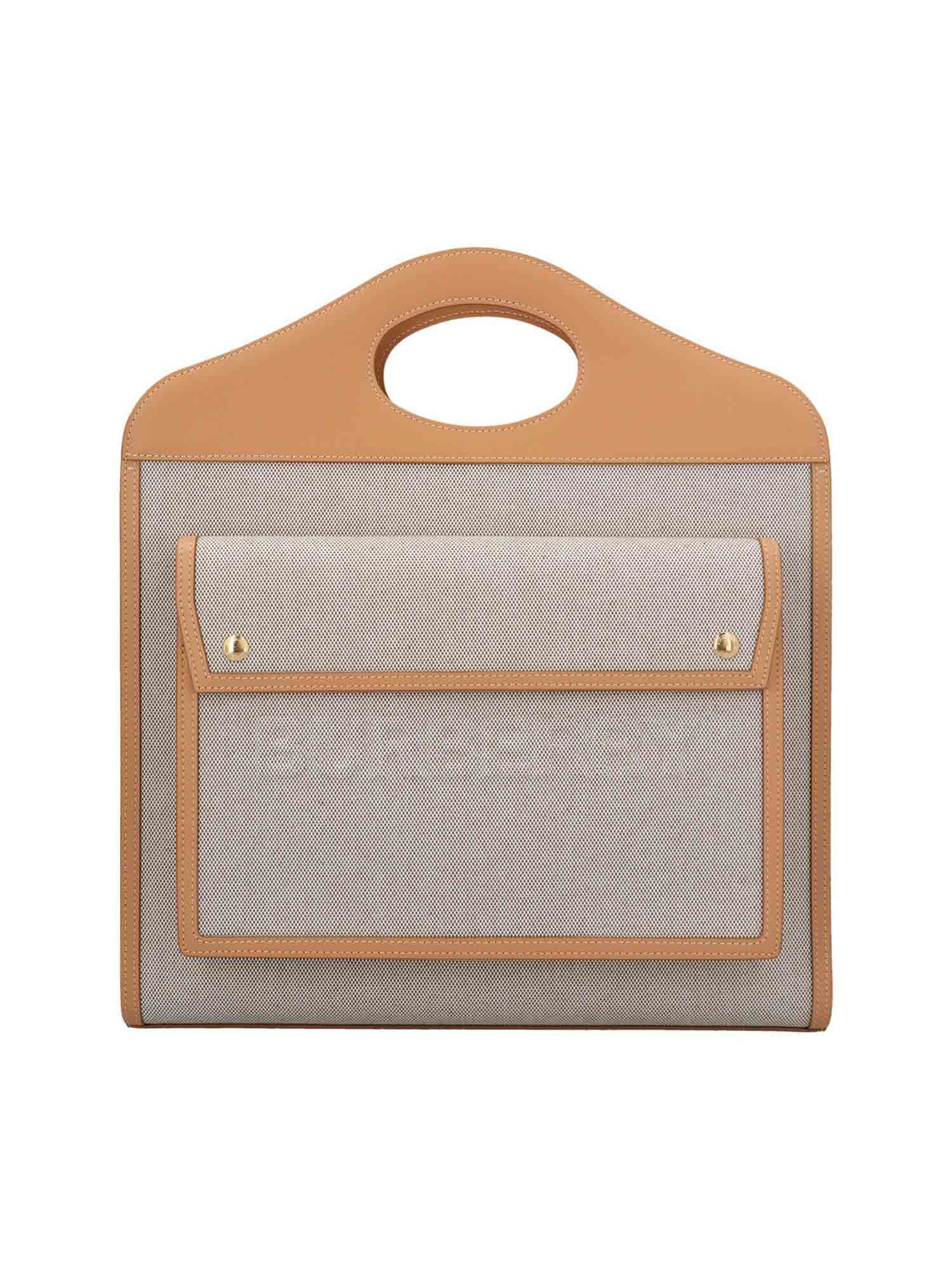 Burberry Canvases MEDIUM POCKET BAG IN FAWN AND SAND COLOR