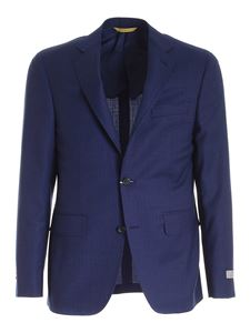 Canali - Wool suit in melange blue