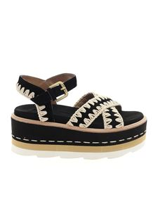 Mou - Platform Criss Cross sandals in black