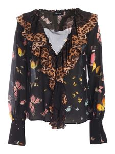 Blumarine - Butterflies print blouse in black