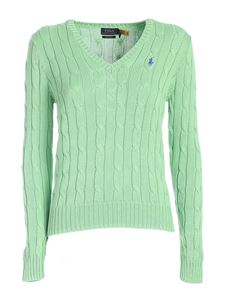 POLO Ralph Lauren - Braided V-neck sweater in green