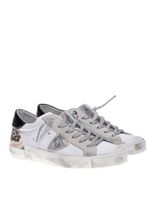 Philippe Model - PRSX low sneakers in white and reptile print