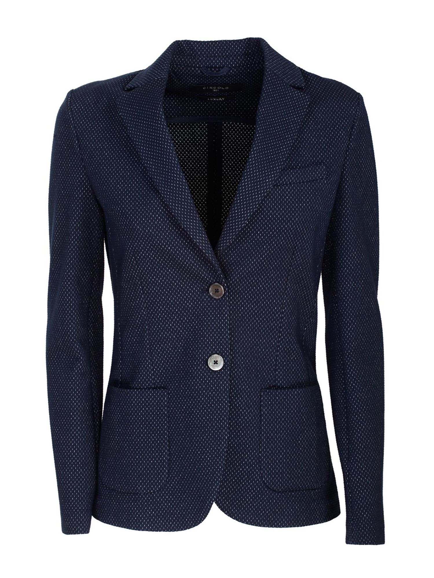 Circolo 1901 Cottons MICRO-PATTERN JACKET IN BLUE