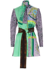 Versace - Multi print dress in purple and green