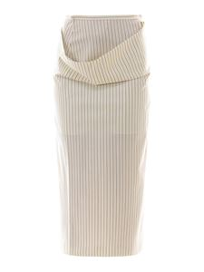 Sportmax - Wool blend pinstripe dived skirt