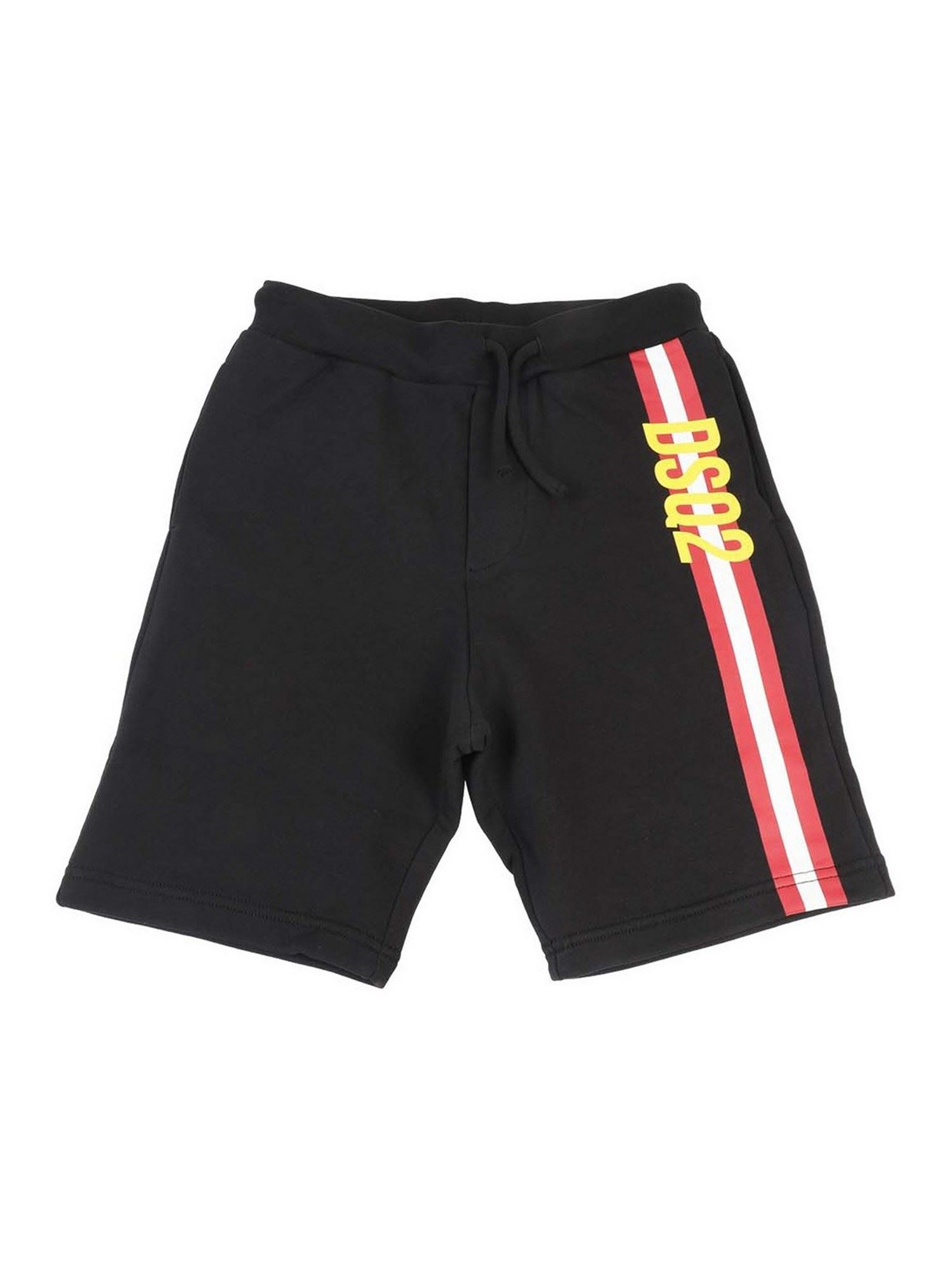 Dsquared2 Cottons COTTON BERMUDA SHORTS IN BLACK