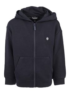 Emporio Armani - Viscose cotton hoodie in blue