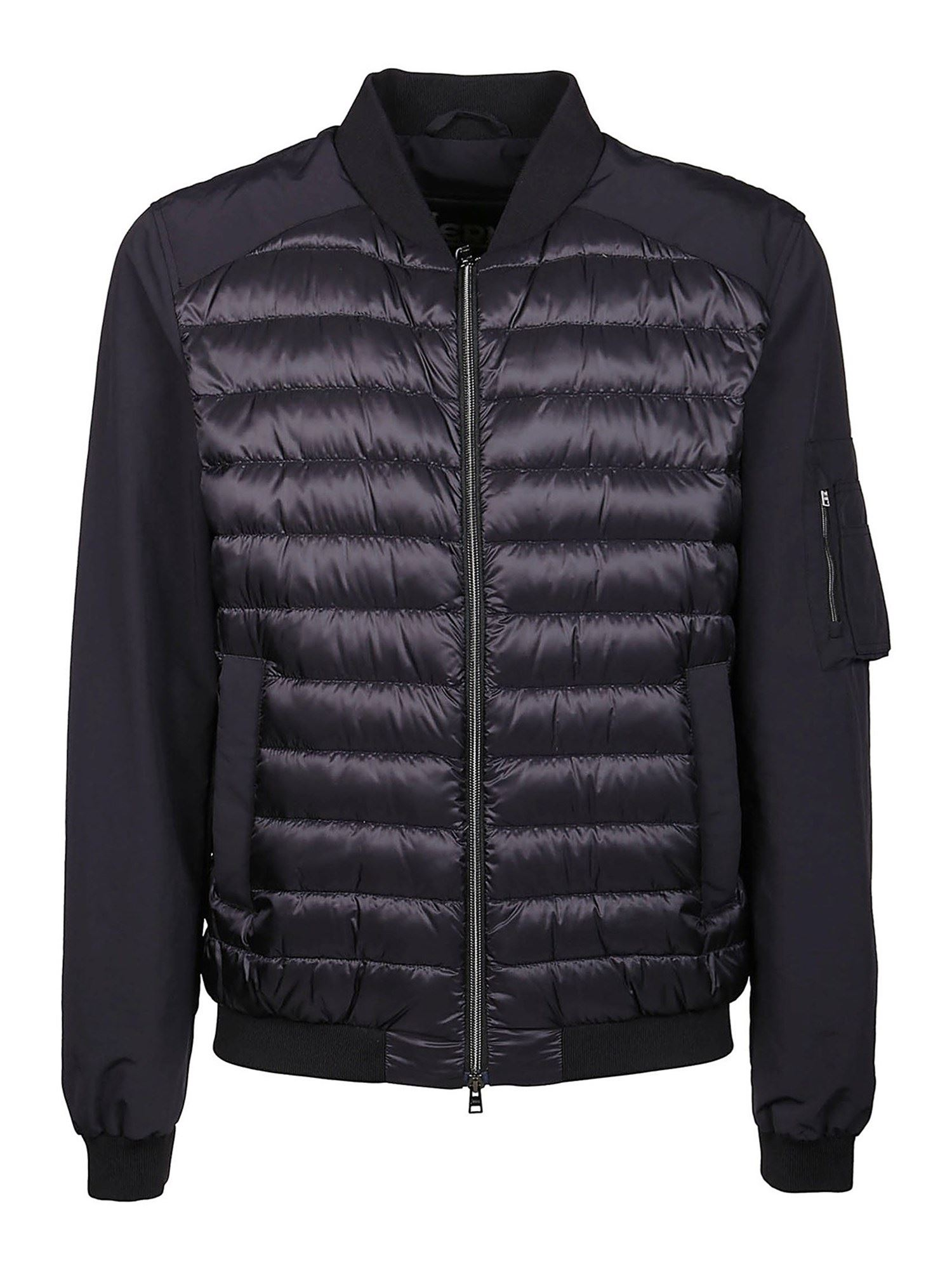Herno QUILTED PADDED BOMBER JACKET IN BLACK