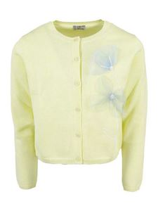 Il Gufo - Tulle flower cotton cardigan in yellow