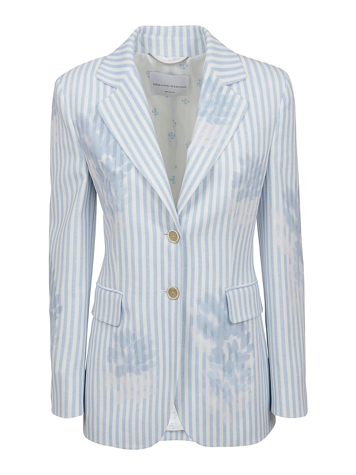 Ermanno Scervino Linings STRIPED VISCOSE BLAZER IN LIGHT BLUE
