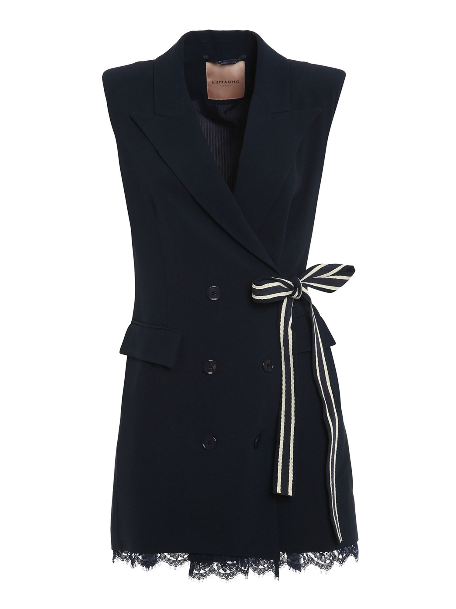 Ermanno Scervino DOUBLE BREASTED SLEEVELESS DRESS IN BLUE