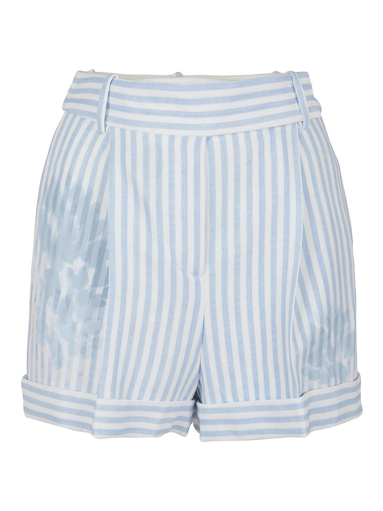 Ermanno Scervino Shorts STRIPED VISCOSE SHORTS IN LIGHT BLUE