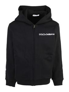 Dolce & Gabbana Jr - Branded hoodie in black