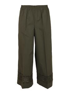 Parosh - Lace trousers in green with stretch waist