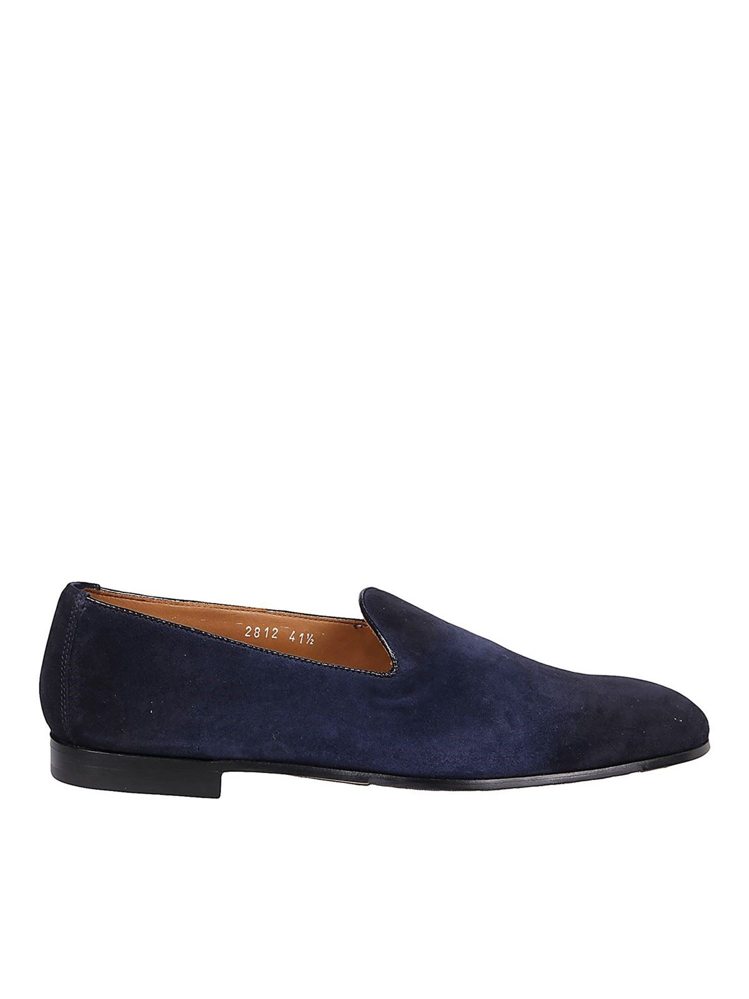 Doucal's SUEDE SLIP-ON LOAFERS IN BLUE