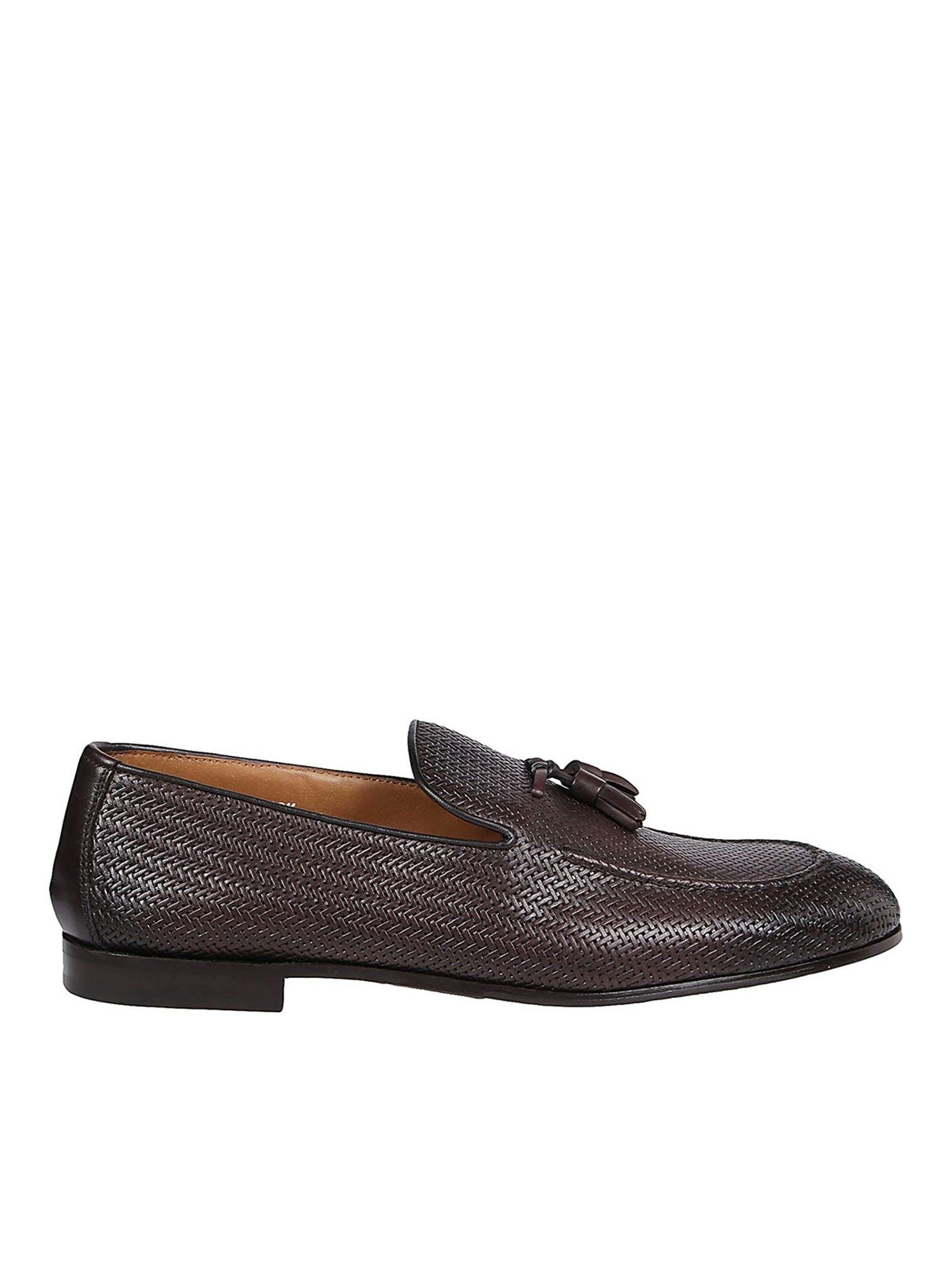 Doucal's Leathers WOVEN LEATHER LOAFERS IN BROWN