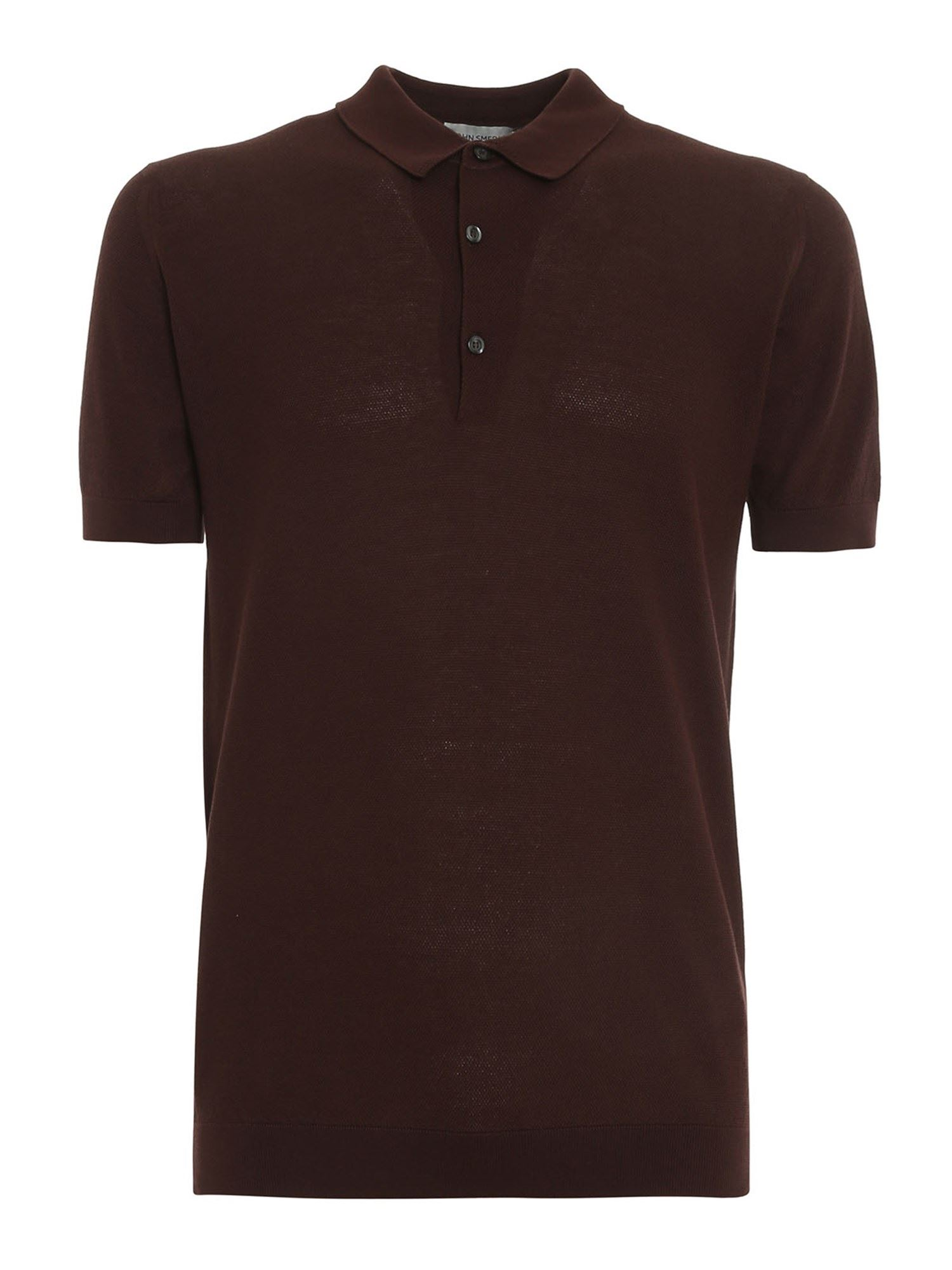 John Smedley Cottons ROTH POLO SHIRT IN BROWN