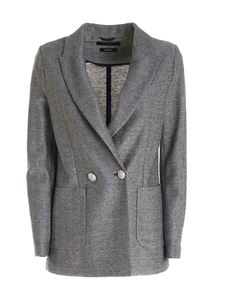 Circolo 1901 - Double-breasted lamé jacket in blue and grey