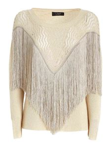Clips - Fringes lamé sweater in beige