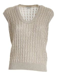 Ballantyne - Lamé knitted top in beige