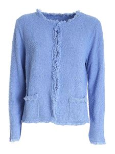 Kangra Cashmere - Terry-effect cardigan in light blue
