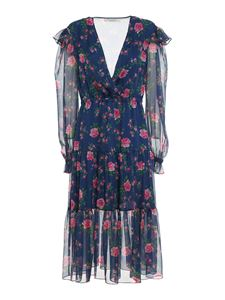 Philosophy di Lorenzo Serafini - Rose printed chiffon dress in blue