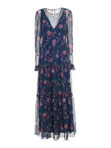 Philosophy di Lorenzo Serafini - Rose printed dress in blue