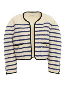 Philosophy di Lorenzo Serafini - Striped open jacket in cream color