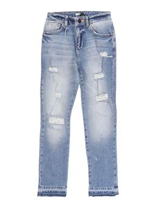 LIU JO Junior - Distressed effect jeans in light blue