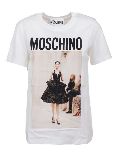Moschino - Printed cotton T-shirt in white