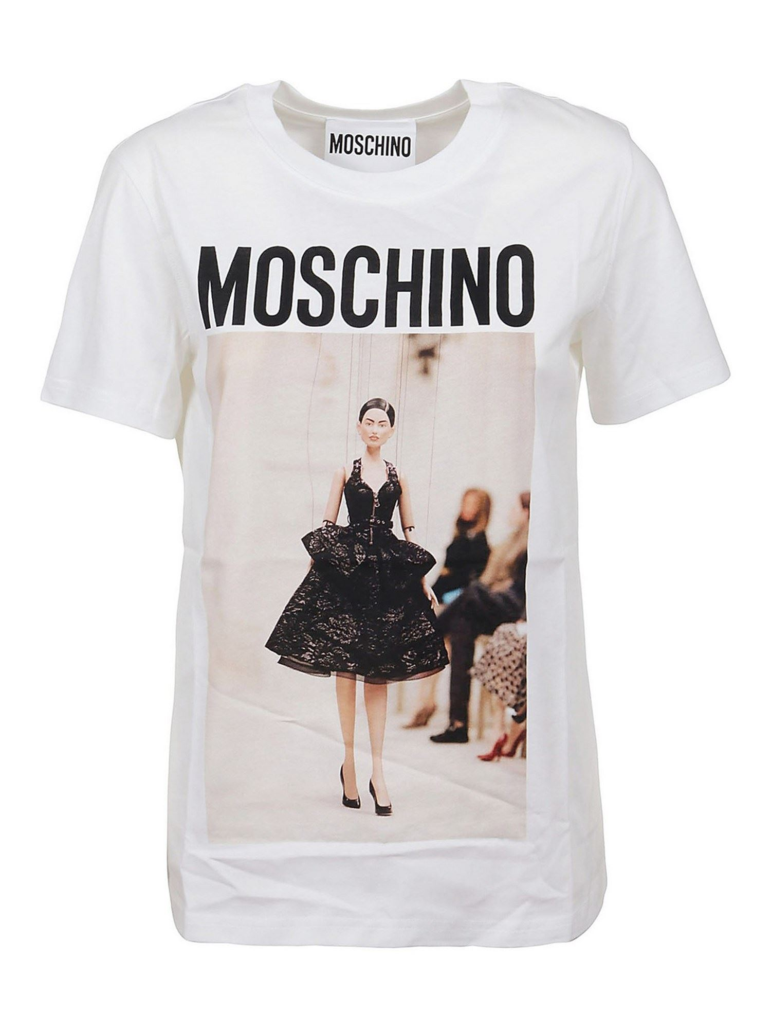 Moschino T-shirts PRINTED COTTON T-SHIRT IN WHITE
