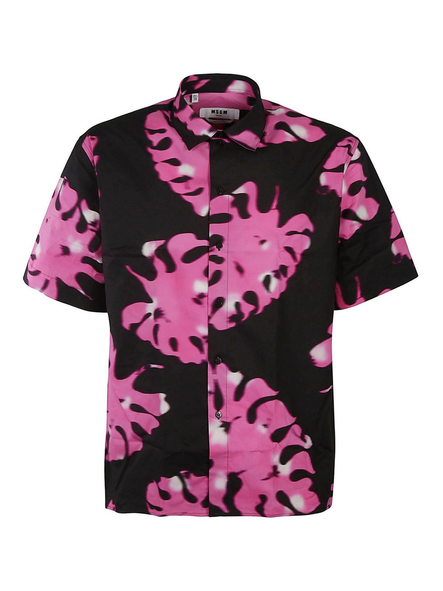 Msgm LEAF-PRINT SHORT-SLEEVES SHIRT IN BLACK AND PINK