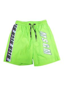 MSGM Kids - Printed swimming trunks in green