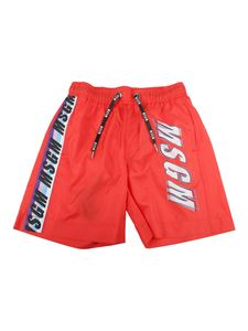 MSGM Kids - Printed swimming trunks in red