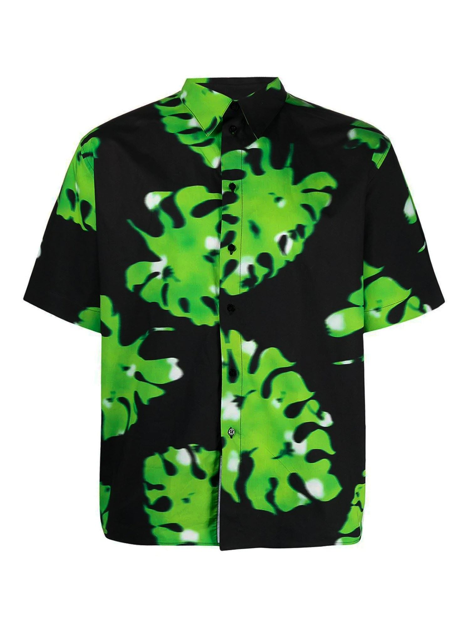 Msgm FLORAL PRINT SHIRT IN BLACK AND GREEN