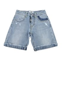 MSGM Kids - Distressed effect denim shorts in blue