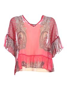 TWINSET - Printed blouse in shades of red