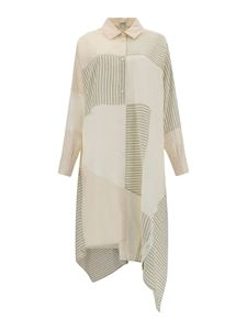 Loewe - Cotton blend shirt dress in cream and green