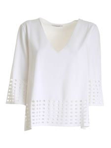 Kangra Cashmere - Drilled details sweater in white