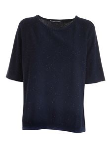 Kangra Cashmere - Sequin knitted T-shirt in blue