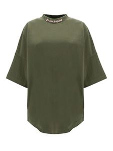 Palm Angels - Logo prints oversized T-shirt in army green