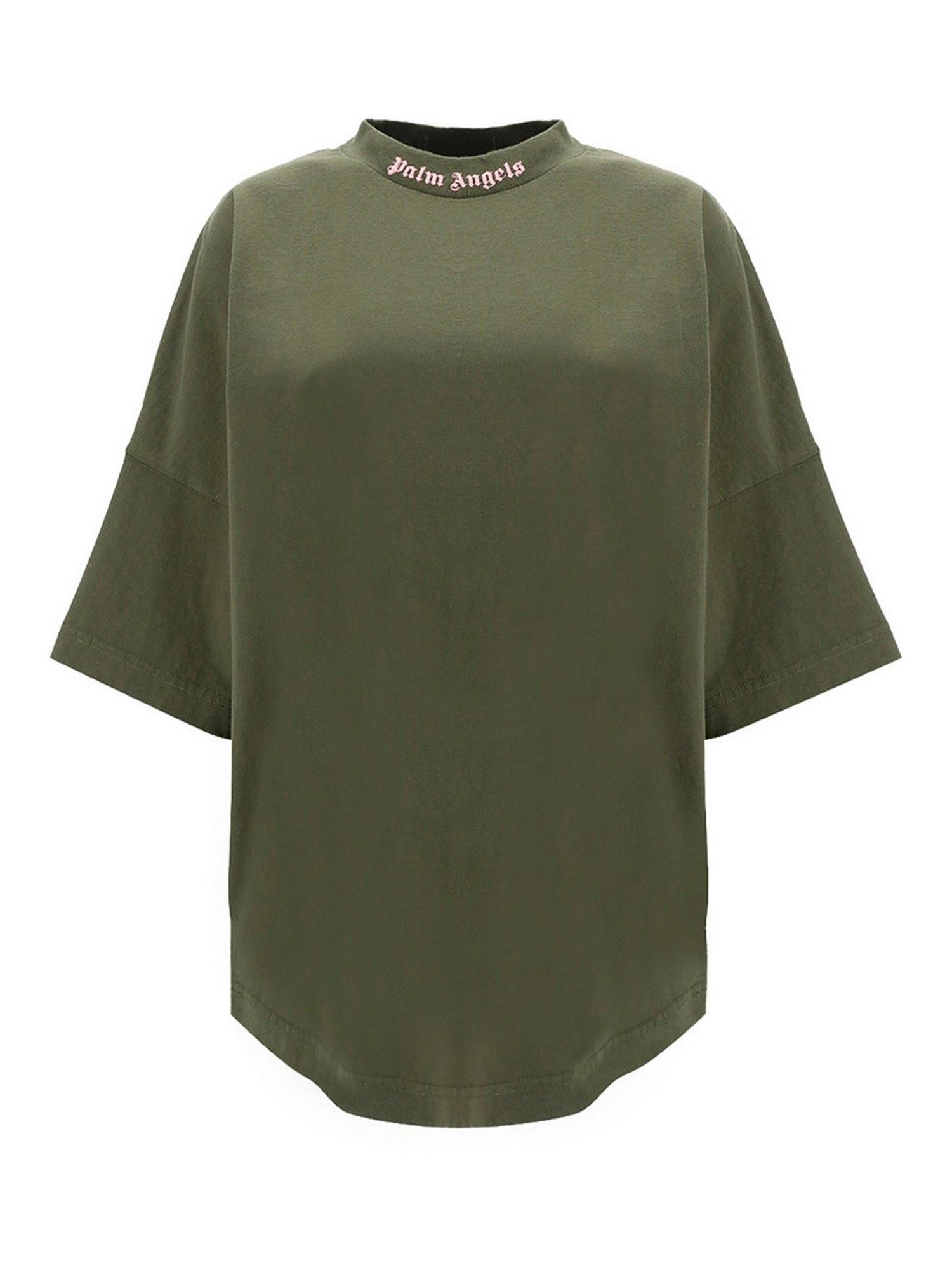 Palm Angels LOGO PRINTS OVERSIZED T-SHIRT IN ARMY GREEN