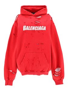 Balenciaga - Destroyed hoodie in red