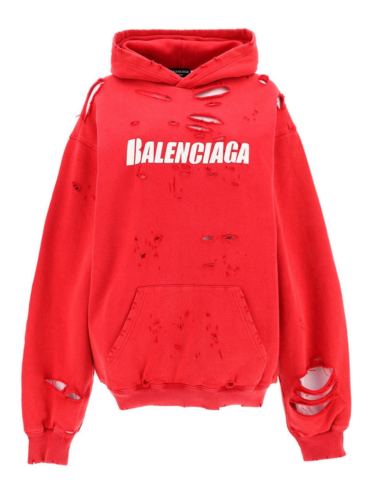 Balenciaga Cottons DESTROYED HOODIE IN RED
